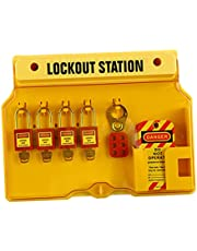 NEWMIND Wall Mounted Lockout Station Safety Padlocks Tag Out Hasp Board Covered Group Devices Center for Factories Premium Grade - Set