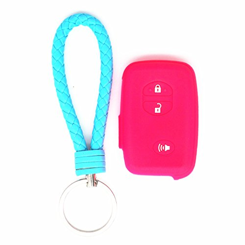 WFMJ 1x Rose red Silicone Key Cover 1x Sky blue Keyring 3 Buttons Remote Key Case Cover Chain For Toyota 4Runner Avalon Camry Corolla Highlander Hybrid Land Cruiser Venza Prius (4runner Hybrid)