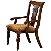 Furniture of America Voltaire Formal Arm Chair, Dark Oak Finish, Set of 2