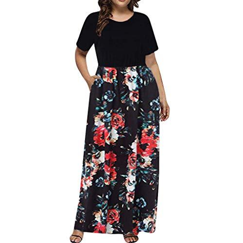 ✿HebeTop✿ Women Short Sleeve Loose Printed Maxi Dresses Casual Long Dresses Pockets Black