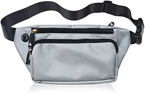 Fanny Pack For Men Women Waist Pack Bag Quick Release Buckle Water Resistant (Silver)