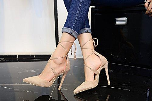 Mila Lady Ether20 Dorsay Lace Up Cinturino Alla Caviglia Eleganza Piattaforma Tacchi Donna! Nudo