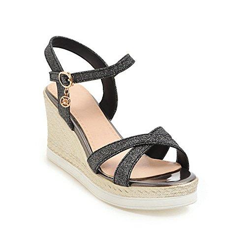 Tamaño Grueso de 39 Sandalias Imitación Zapatos con de Simples Paja de Lentejuelas Zapatos Shymamamiya 3 de Negro de EU Gran Tamaño Fondo Verano Gold Color de 1 UBnp0wxq