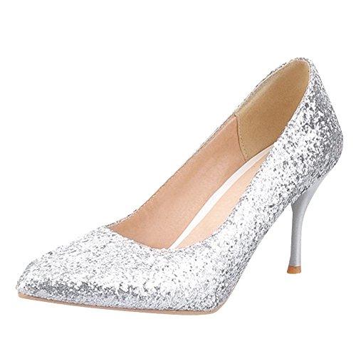 YE Damen Stiletto High Heels Glitzer Spitze Pumps mit Pailletten und 8cm Absatz Elegant Schuhe