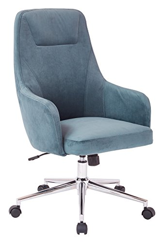 AVE SIX Marigold High Back Desk Chair with Wraparound Arms and Chrome Base, Atlantic Blue Velvet