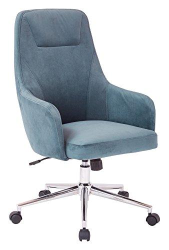 AVE SIX Marigold High Back Desk Chair with Wraparound Arms and Chrome Base, Atlantic Blue - E Avenue Atlantic
