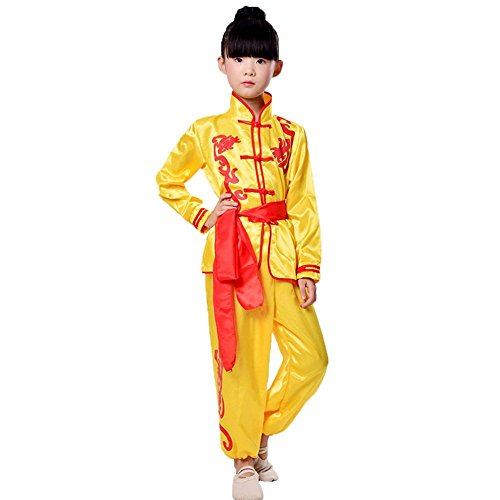 ZooBoo Karate Martial Arts Uniform - Nanquan Taekwondo Hapkido Sanda Chinese Kung Fu Wing Chun Training Clothes Apparel Clothing with Belt for Kids Boys Girls - Synthetic Silk (Height 110cm, Yellow)
