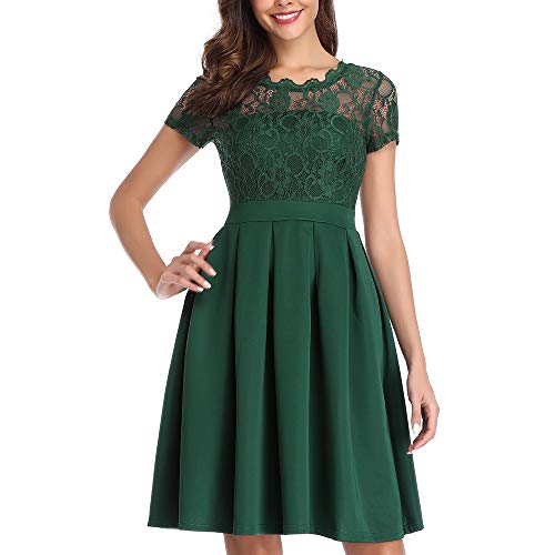 Women's Lace Vintage Cocktail Dress for Party Wedding Night Out Dresses A-Line, Emerald Green, XL