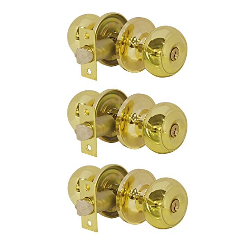 (Probrico Entrance Door Knobs Door Lock Keyed Alike Lockset Polished Brass Same Key Round Ball Entry Door Knobs Pack of 3)
