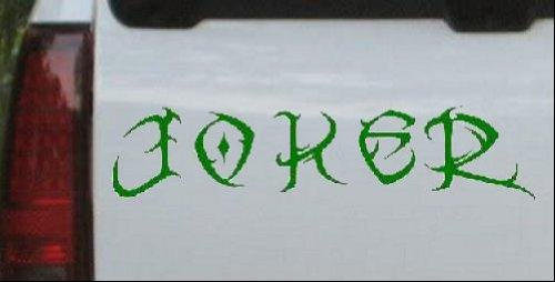 8.5in X 2in Dark Green -- Tribal Joker Car Window Wall Laptop Decal Sticker
