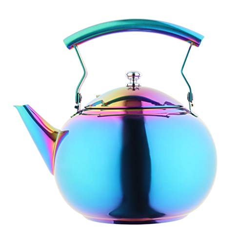 Onlycooker Rainbow Tea Pot with Infuser for Loose Leaf 2 Liter Tea Kettle Stainless Steel Colorful Coffee Pot 8 Cup Stovetop Induction Stove Top Teapot Strainer for Hot Water Multicolor 2.1 QT