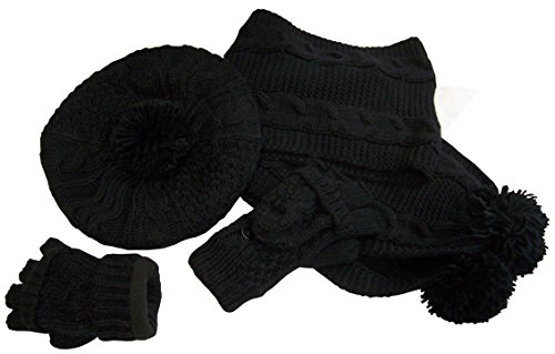 NIce Caps Big Girls Fleece Lined Cable Knit Hat/Scarf/Converter Glove Set