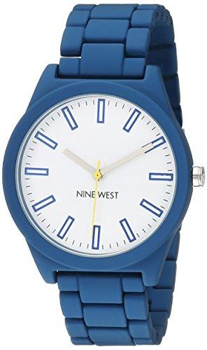 Nine-West-Womens-NW2009WTBL-Matte-Navy-Blue-Rubberized-Bracelet-Watch