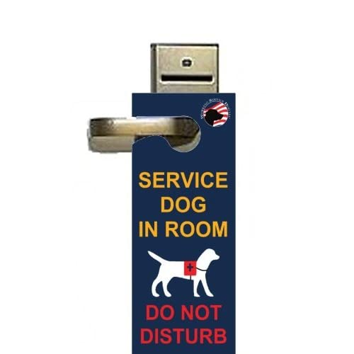 """Service Dog in Room - Do Not Disturb"" - Door-hanger Pack of 5"