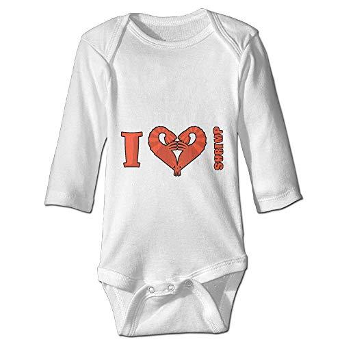 Printed I Love Shrimp Kawaii Baby Girls Long Sleeves Romper Jumpsuit Bodysuit