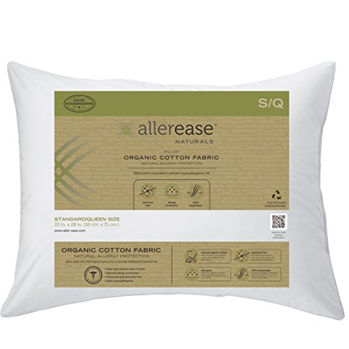 "AllerEase Organic Cotton Allergy Protection Pillow, Standard/Queen 20"" x 28"", 1 Pack – Hypoallergenic Fill, Barrier Protection Against Dust Mites and Other Allergens – Allergist Recommended"