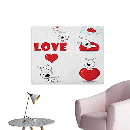 (Anzhutwelve Love Corridor/Indoor/Living Room Set of Funny Dogs with Heart Symbols My Pet Best Friends Ever Animal Valentines Theme Cool Poster Red White W28)