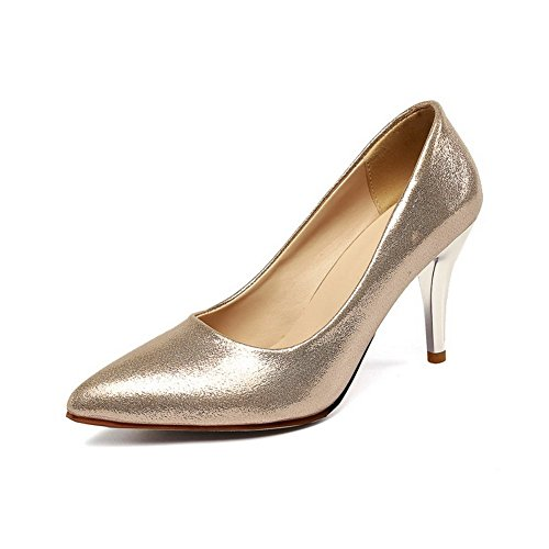 BalaMasa Womens Electroplate Heel Pull-On Sequins Pumps-Shoes Gold AQFfql