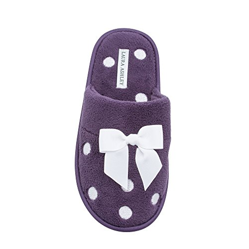 Laura Ashley Ladies Dot Embroidered Soft Terry Plush Scuff Slippers, Frosted Grape Purple, Small