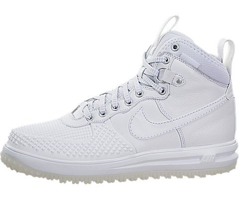 Nike Jordan Men's Lunar Force 1 Duckboot White/White Boot 8 Men US by Nike