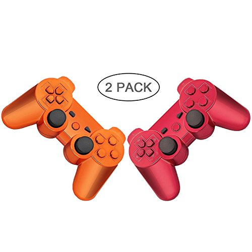 PS3 Controller 2 Pack Wireless Bluetooth Six Axis Controllers Gamepad for PlayStation 3 Dualshock 3 (Plating Orange+Red)