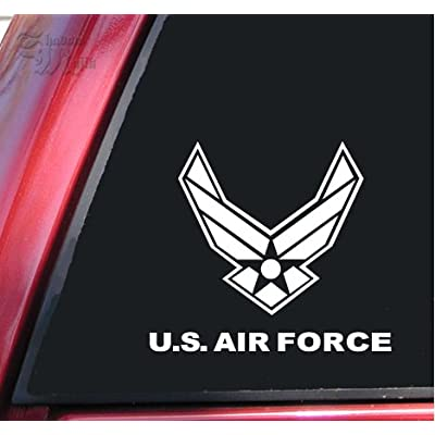 "ShadowMajik U.S. Air Force Vinyl Decal Sticker (4"" X 3.5"", White): Kitchen & Dining"