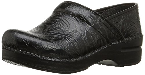 Dansko Women's Professional Tooled Clog,Black,38 EU / 7.5-8 B(M) US Tooled Leather Shoes