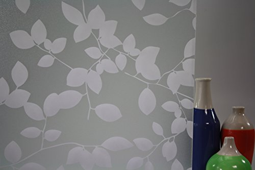 Privacy Leaves White, Decorative, Privacy, frost Static Cling Window Film (35'' x 25ft) by Window Film and More