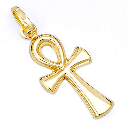 - 14k Yellow Gold Religious Ankh Cross Charm Pendant (20 x 10 mm)