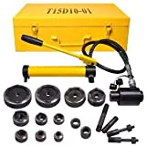 Professional 1/2 - 4 Inches 15 Ton Hydraulic Knockout Punches Metal Hole Complete Puncher Driver Kit Tool Set Yellow w/ Draw Studs Piston Shafts Spacers Sealing Rings Carrying Case
