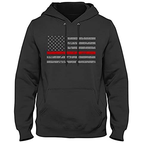 Firefighter Thin Red Line American Flag - Support Firefighter Department Horizontal Mens T-shirt HOODIE, Black, X-Large