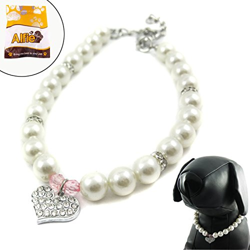 Alfie Couture Designer Pet Jewelry - Pinky Crystal Heart Pearl Necklace - Size: L (12