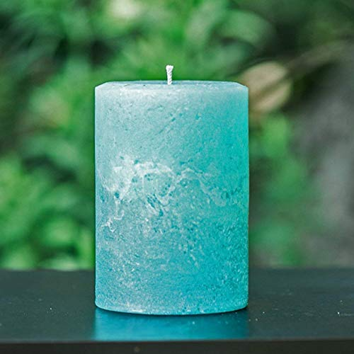 Light Teal Turquoise Extra Large 4 Wide Rustic Unscented Pillar Candle - Choose 4, 6 or 9 Tall