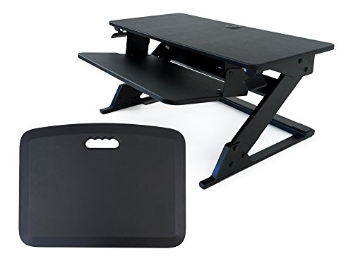 iMovR ZipLift Plus Standing Desk Converter with Ergonomic Tilting Keyboard Tray by iMovR