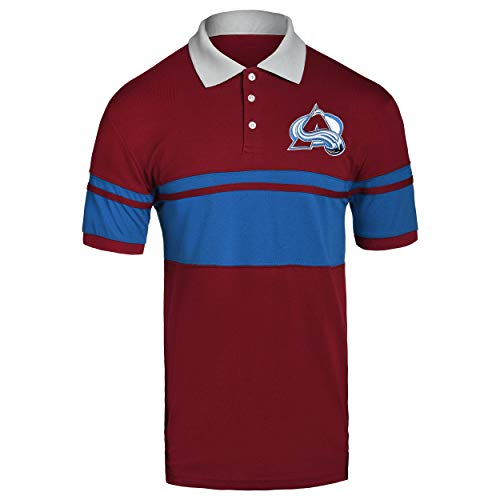 FOCO NHL Colorado Avalanche Cotton Stripe Polo - Mens Extra Large