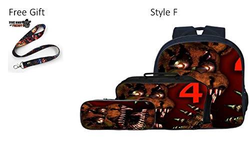 1 2 Buckle My Shoe Five Night At Freddy Three (3) Piece Big Face Backpack Bookbag School Bag Set w/Free Lanyard (Style F Red)