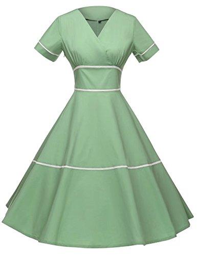 GownTown Women's 1950s Vintage Dresses Audrey Hepburn Style Party Dresses, Light Green, Medium (Light Vintage Green)