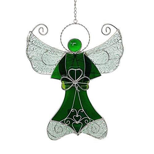 BANBERRY DESIGNS Irish Angel Suncatcher - Green Stained Glass Sun Catcher with Shamrock Charm and Wings - St. Patrick's Day Decorations