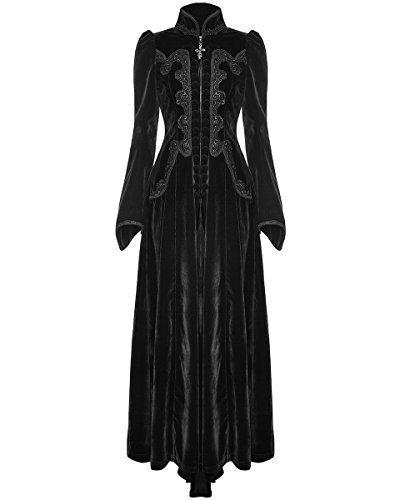 Punk Rave Para Dama, largas Gótico Vestido Chaqueta Terciopelo Negro steampunker Victoriano Vintage - Negro