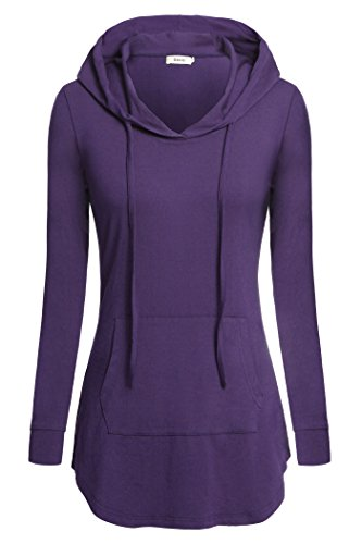 - BEPEI Women Tees, Hoody Shirt Wear to Work Fashion Tunic Blouses Tops Purple XL Spring Elastic Vibrant Semi-Loose Tops Drawstrings Kangaroo Pocket Hoodies Sweatshirts Outwear