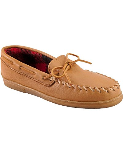 (Minnetonka Men's Genuine Moose with Fleece Lining Moccasins XL(14-16) Natural 15 M US)