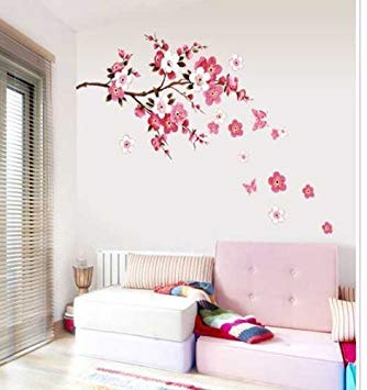 (Cukudy Cherry Blossom Decal Removable Vinyl Art Wall Decal)