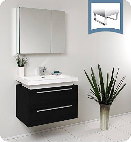 Amazon Com Fresca Medio 32 Black Modern Bathroom Vanity W Medicine Cabinet Kitchen Dining