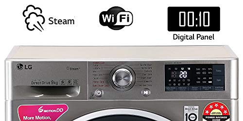 LG 9 Kg 5 Star Inverter Wi-Fi Fully-Automatic Front Loading Washing Machine (FHT1409ZWS, VCM, Steam) 2021 June Fully-automatic front load washing machine: best wash quality, energy and water efficient Capacity 9 kg: Suitable for large families Energy Rating 5 Star: Best in class efficiency