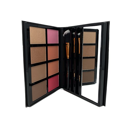 Profusion Cosmetics - Blush & Bronzer - Professional 8 Color Palette Makeup Kit Blush Highlighter Bronzer - Nude Highlight Champagne Highlight Light Bronze Shadow Bronze Pink Warm Peach Rose Pink by Profusion Cosmetics (Image #2)