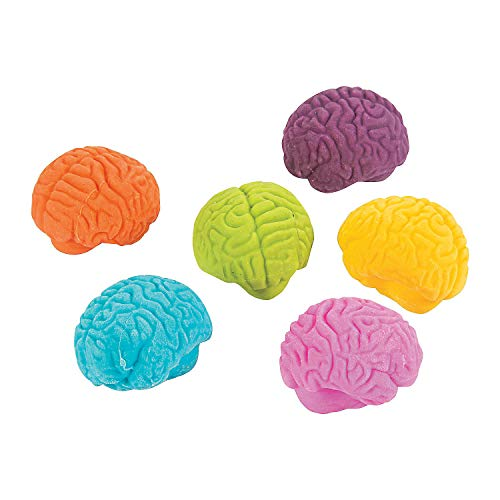Fun Express Rubber Brain-Shaped Erasers | 24 Count | Great for Themed Birthday Parties, Halloween Trick-or-Treating, School or Classroom, Prizes & -