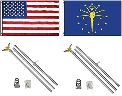 ALBATROS 3 ft x 5 ft USA American with State of Indiana Flag with 2 Aluminum with Pole Kit Sets for Home and Parades, Official Party, All Weather Indoors Outdoors -