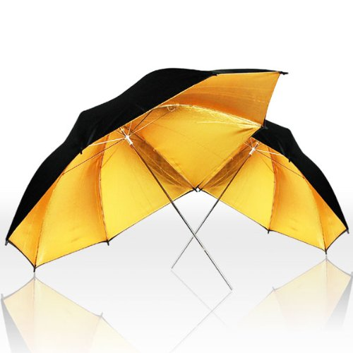 LimoStudio 33'' Black & Gold Umbrella Double Light Lighting Kit - Black/Gold Reflective Umbrella, White Reflective Umbrella, 45W CFL Daylight Bulb, Exclusive Premium Carry Bag, AGG1298 by LimoStudio (Image #3)