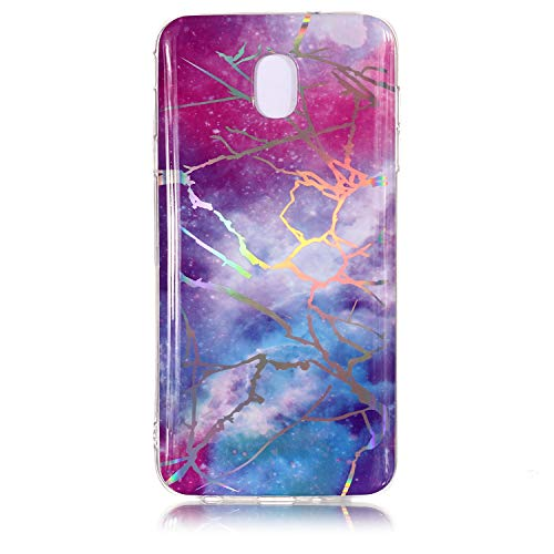DECVO Samsung Galaxy J7 Case,TPU Case Laser Shiny Marble Pattern for Galaxy J7, Hard Back Drop Resistant Cover Bumper Protective Shock-Absorption & Skid-Proof Anti-Scratch Hybrid Case (Sky ()