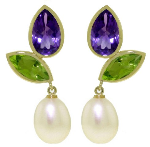 14k Solid Gold Dangle Earrings with Amethysts, Peridots and Pearls